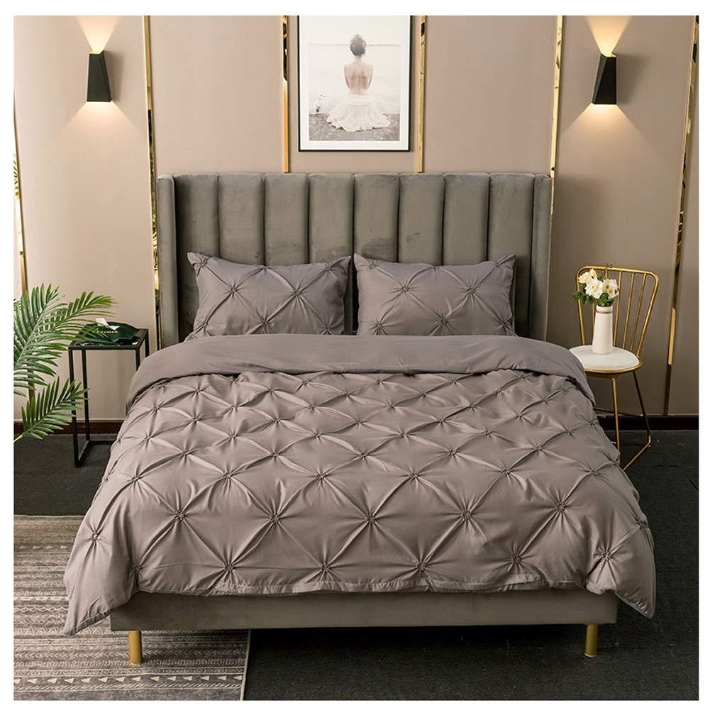 Bedding Duvet Cover Set Duvet Cover Set Solid Sanding with Zipper Closure Pillowcases Easy Care Bedding Set Digital Printing 5 Colors (Color : D, Size : 220x240cm) by OZYN-Duvet Covers