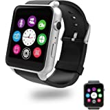 Bluetooth Smart Watch with Dual Card Slot and HD Camera,Evershop Smart Watches with Heart Rate Monitor Touch Screen Bluetooth Sports Wrist Watch Phone for Android and IOS (Silver)