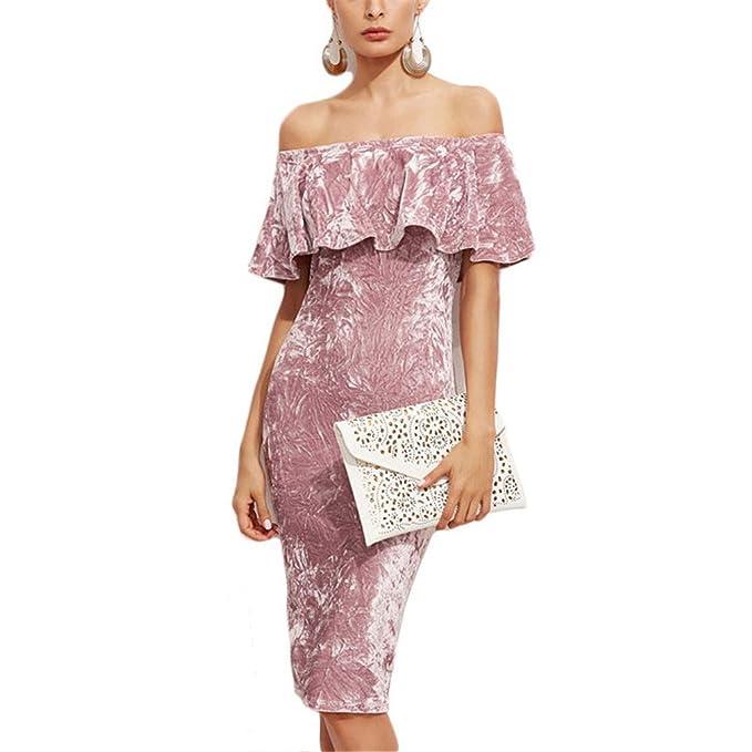 Mujeres Pink Off hombro volante de terciopelo vestidos Sexy Party Night Club vestido de invierno vestidos
