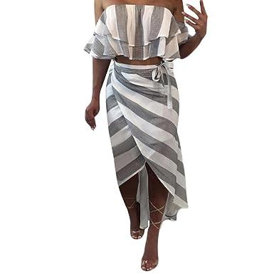 Ansenesna Kleid Damen Sommer Gestreift Lang Off Shoulder Elegant  Strandkleid Party Strand Frauen Vorne Kurz Hinten Lang Röcke und Tops   Amazon.de  ... b77720a08e