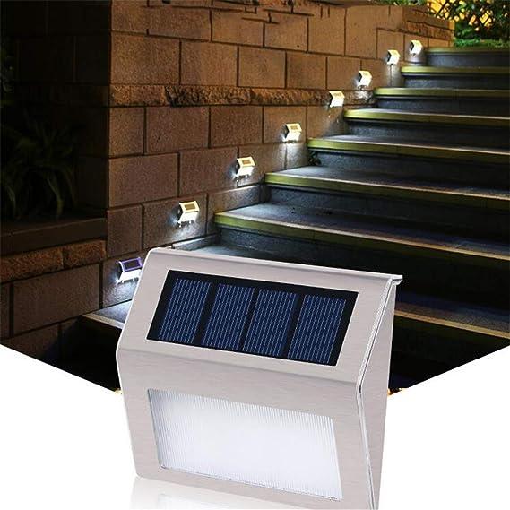 RBH Luz de Escalera Led Luz de Calle Solar Led Luz de Paso Solar Luz inalámbrica inalámbrica Luz de Seguridad Exterior Puerta Delantera Patio Trasero Iluminación Carril Escaleras de Garaje: Amazon.es: Hogar