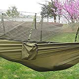 GlobalDeal Outdoor Camping Travel Tool Portable Parachute Fabric Mosquito Net Insectproof Hammock (Army Green)