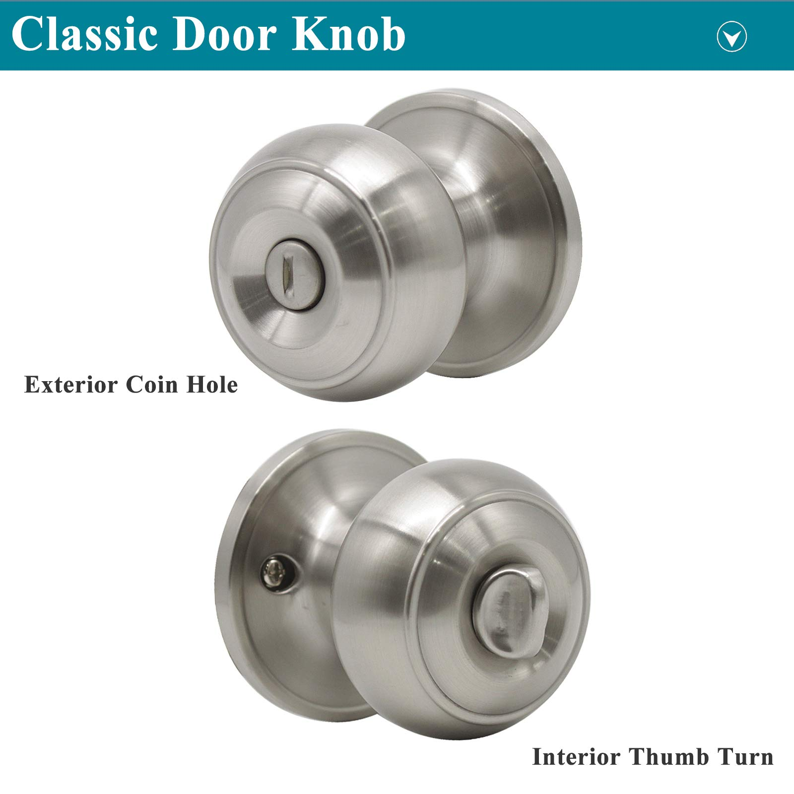 Probrico Privacy Interior Door Knobs Bed and Bath Handle Levers Keyless Brushed Nickel Lockset 6 Pack by Probrico (Image #3)