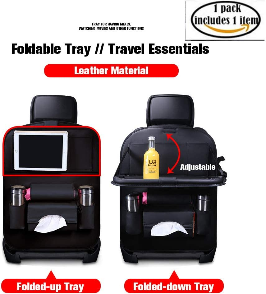 Durable Quality Seat Covers,Luxury PU Leather Car Seat Back Organizer,Travel Accessories Organizer(Black 2-pack) Car Backseat Organizer with Foldable Dining Table Holder Pocket Storage Kick Mats