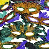 1 Dozen Fantasy Feather Masks 12 Assorted Styles, Masquerade Masks for Mardi Gras Party Favors, By 4Es Novelty,