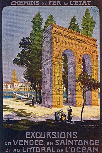 (Vend?e, France - Roman Aqueduct Scene; Coastal Region and Saintonge; State Railway Postcard (16x24 SIGNED Print Master Giclee Print w/Certificate of Authenticity - Wall Decor Travel Poster) )