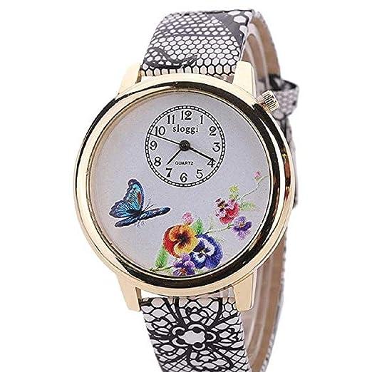 Scpink Relojes de Flores para Mujeres, Relojes exclusivos de Mujer de Moda analógica, Relojes