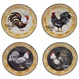 Certified International 57490SET/4 Vintage Rooster Canape Plates (Set of 4), 6.25'', Multicolor