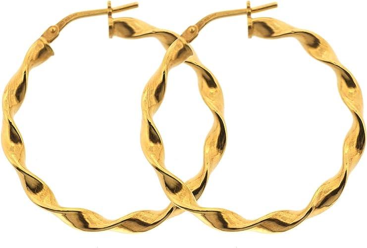 Edward Jones Jewellery Italian 9ct Gold Filled 925 Silver Bonded Twist Creole Earrings Earring Size 31mm By 2mm 2 9g Amazon Co Uk Jewellery
