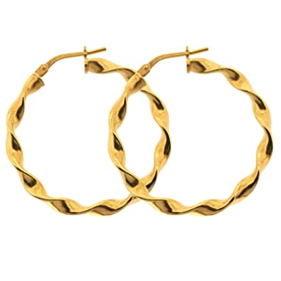 4566130d9 Edward Jones Jewellery Italian 9ct Gold Filled 925 Silver Bonded Twist Creole  Earrings - Earring Size: 31mm By 2mm 2.9G: Amazon.co.uk: Jewellery