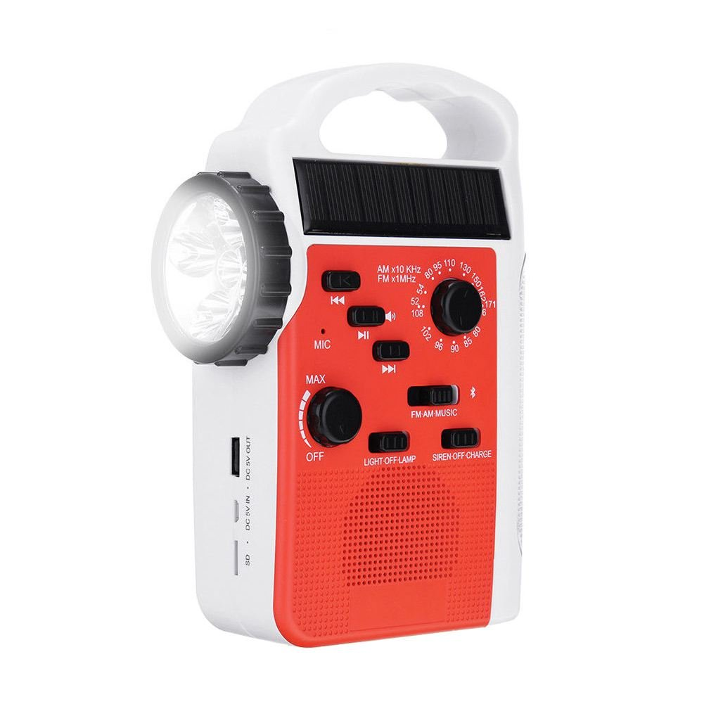 TOOGOO AM/FM Bluetooth Solar Hand Crank Dynamo Outdoor Radio With Speaker Emergency Receiver Mobile Power Supply Flashlight