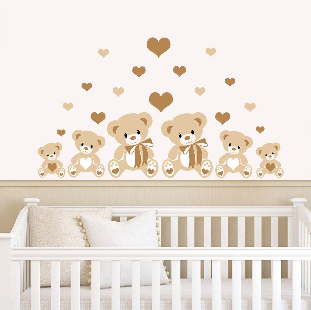 Teddy Bears Hearts Brown Childrens Nursery Printed Wall Art - Vinyl stickers uk