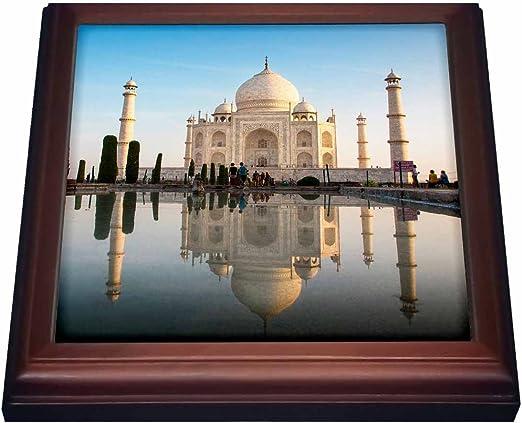 3dRose trv/_225606/_1 Agra The Taj Mahal Trivet with Ceramic Tile Digitally Edited Natural 8 x 8 Composite Image
