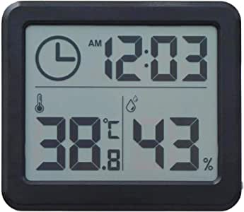 Digital Hygrometer Indoor Thermometer Humidity Monitor with Ultra-Thin Temperature Humidity (Black)
