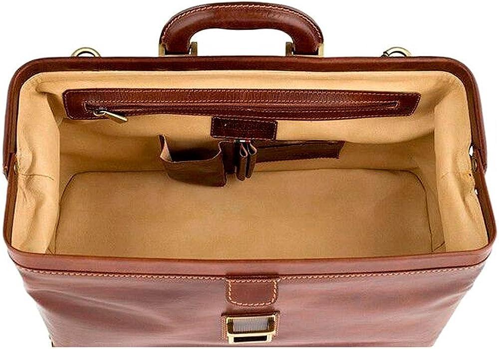 CHIARUGI Italian Leather Full grain brown leather doctor bag GALILEO BROWN