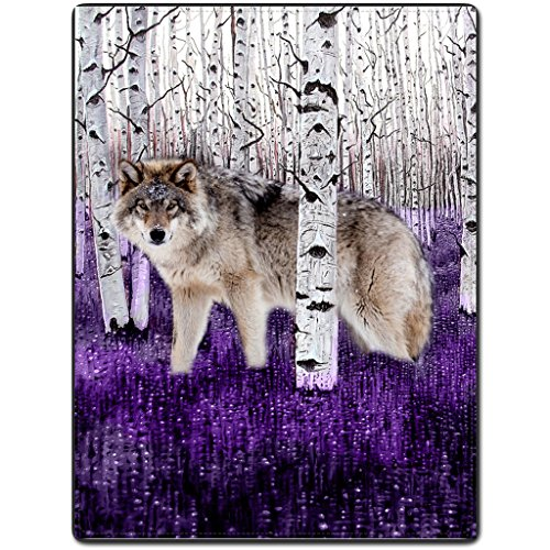 Purple Wolf - Flannel Fleece Blanket Throw Lightweight Cozy Plush Branches white wolf wildlife purple ground 60