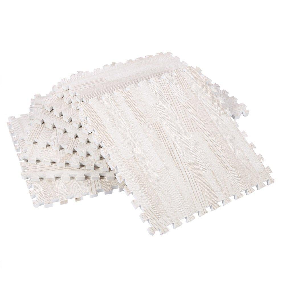 ZJchao Eva Wood Grain Cushioned Floor Mat Interlocking Foam Puzzle, 18 Pcs 30X30cm Anti Fatigue Extra Thick Children Play Flooring Mats (White Wood Grain)