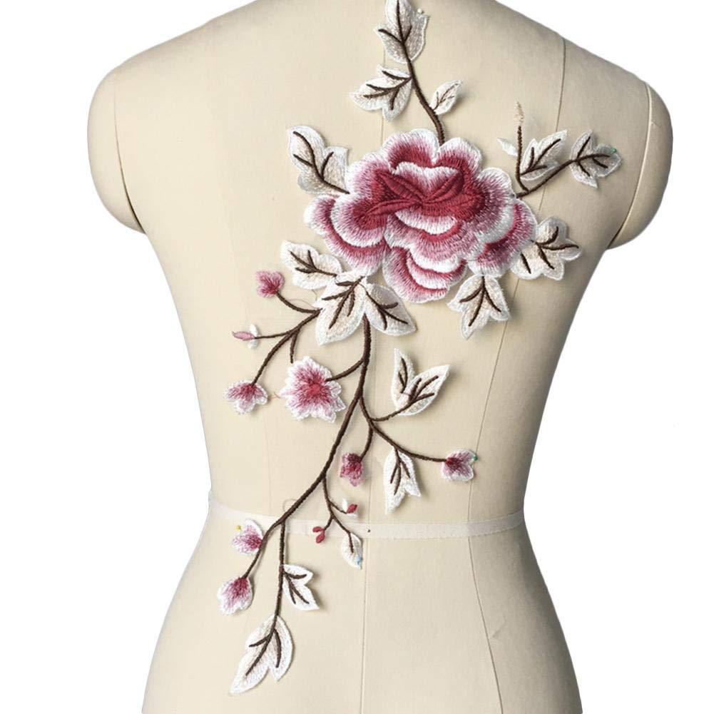 Yves25Tate Décoration de Mariage et Vêtement Sticker Fleur en Dentelle brodée de Pivoine Décoration d'applique