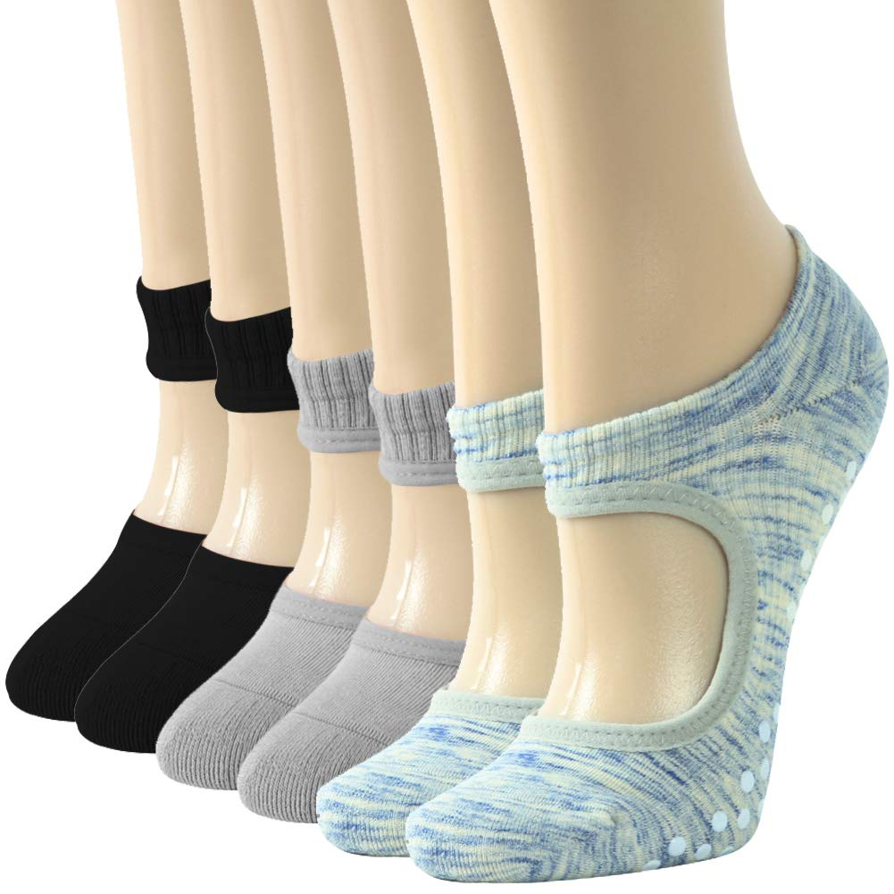 Gift for Women Non Skid Socks with Grips, Gmark Barre Socks Pilates Socks for Mother Safe Comfortable Durable, Pack of 3 Multicoloured Small by Gmark