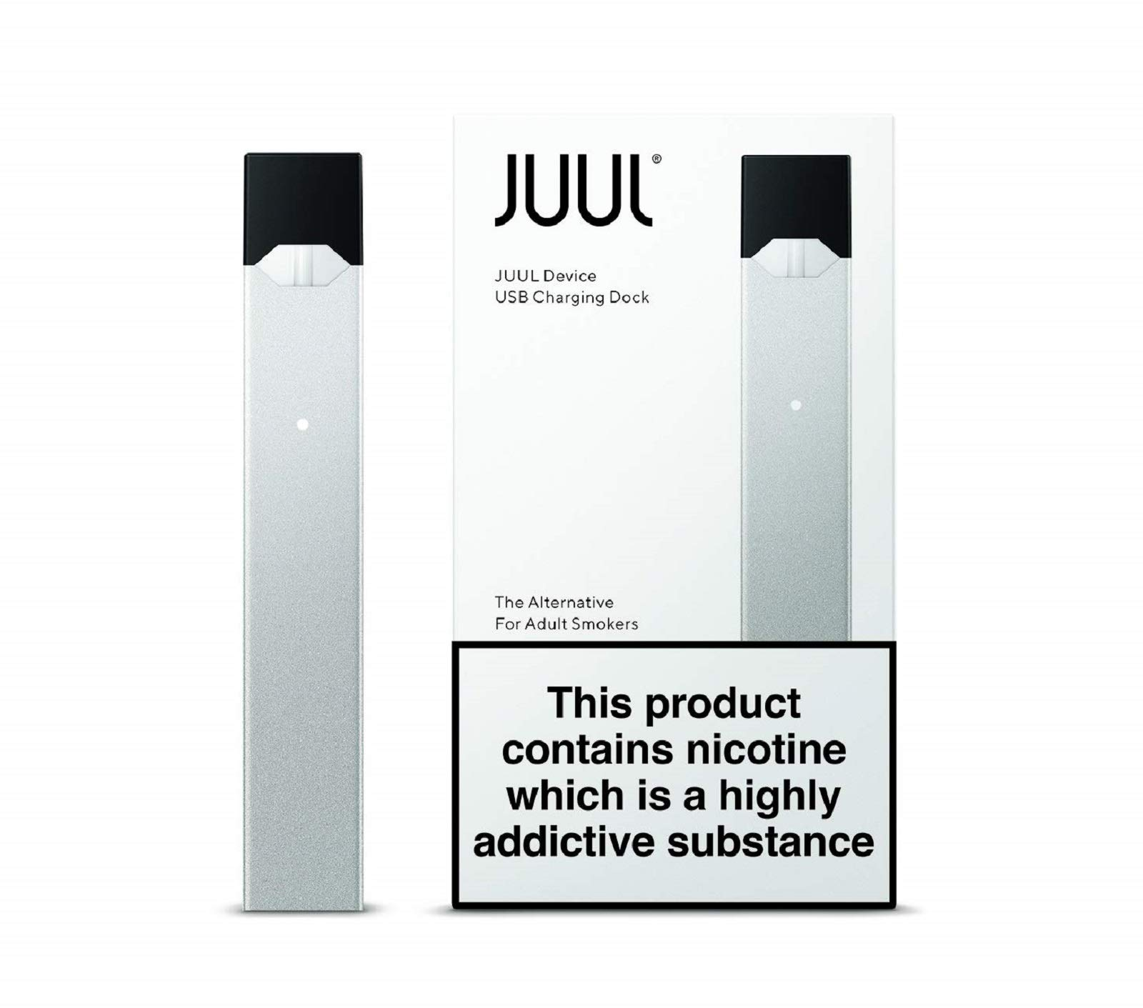 JUUL Device Kit, Silver, E-cigarette (JUULpods not included/No Nicotine)