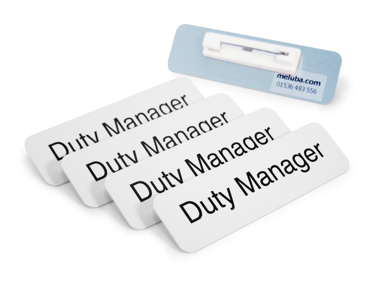 Meluba distintivi | Duty manager badge–bianco in alluminio con spilla da balia–70x 20mm, confezione da 5pezzi Meluba Badges
