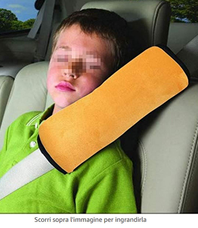 Cuscino cintura per sicurezza bambini supporto collo e poggiatesta morbido adatto anche per viaggi Aereo Bus auto treno colore cielo