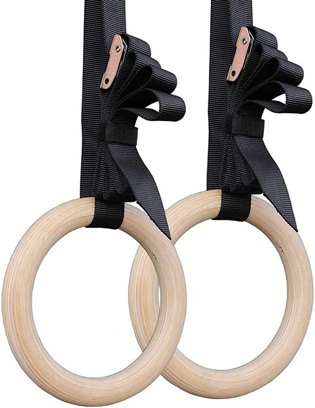 MEIBY Fitness Home Wood Gym Exercise Gymnastics Rings Set Buckle Straps Pull Ups//Black