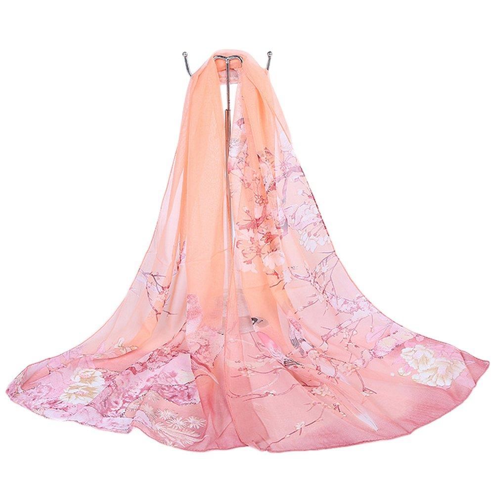 Da.Wa Mujeres Estampado Floral Pura Gasa Bufanda de Seda Suave Bufandas Sheer Wrap Chal Rosado160 * ...