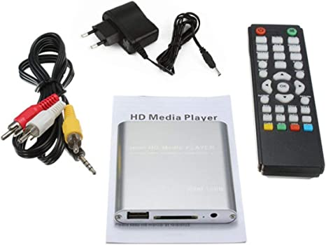 Mini USB HD 1080P MKV Puerto AV HDMI Video Audio Reproductor Multimedia Digital Adaptador Plug-and-Play SATA U-Disk Plateado