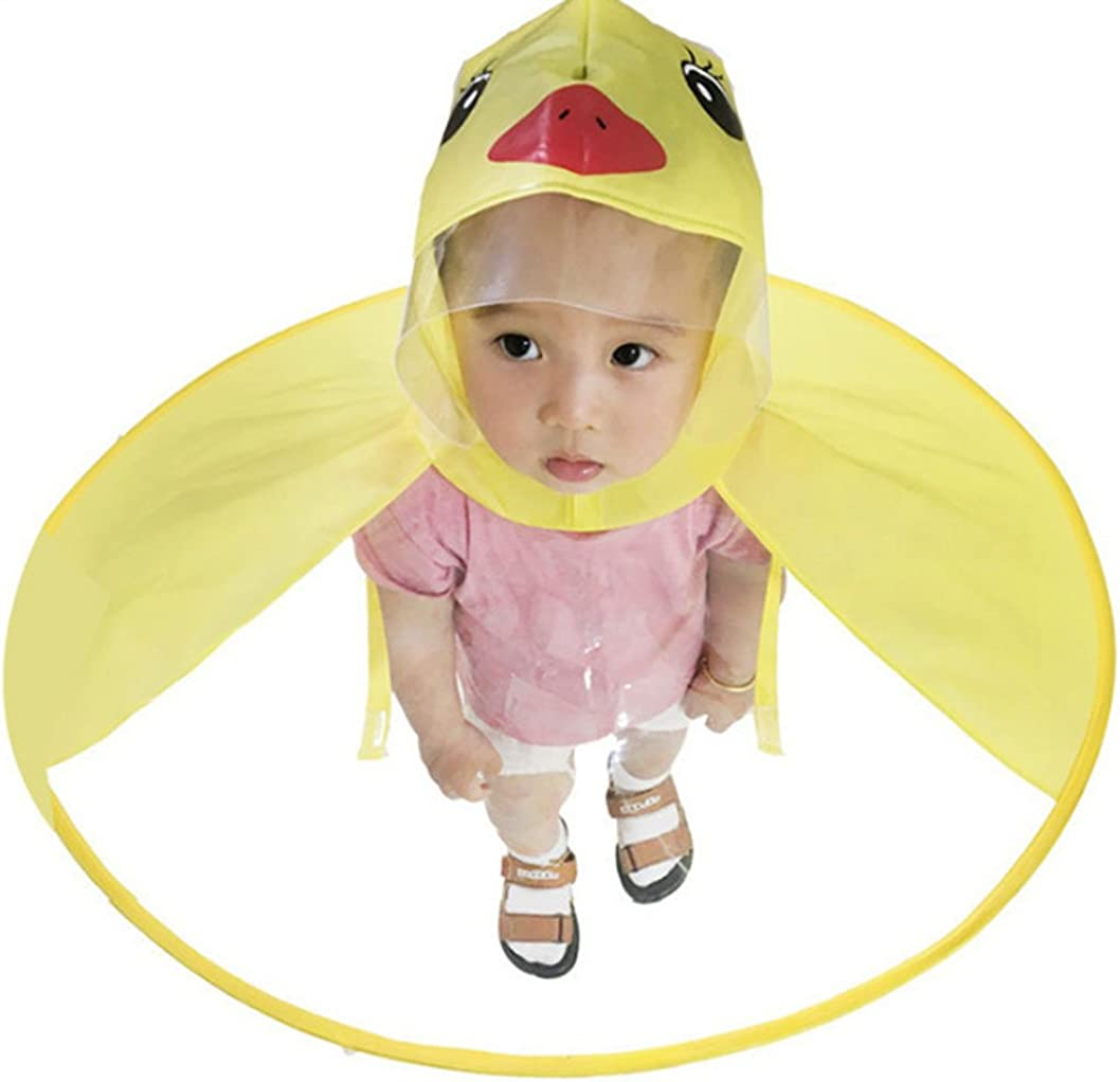 Kids Raincoat Cartoon Duck Raincoat Yellow Packable Childrens Cute Hooded Poncho Cloak for Age 1-15 Large