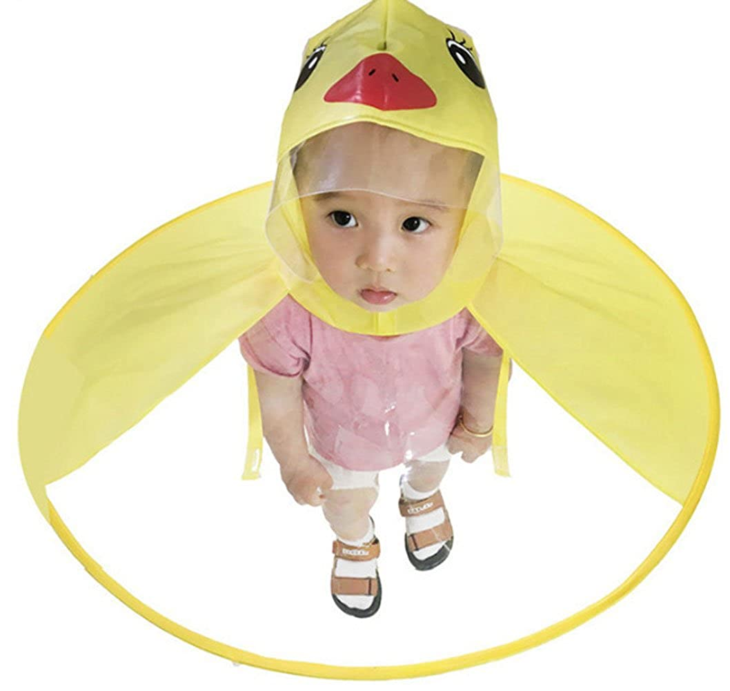 Kids Raincoat Cartoon Duck Raincoat Yellow Packable Children's Cute Hooded Poncho Cloak for Age 1-15