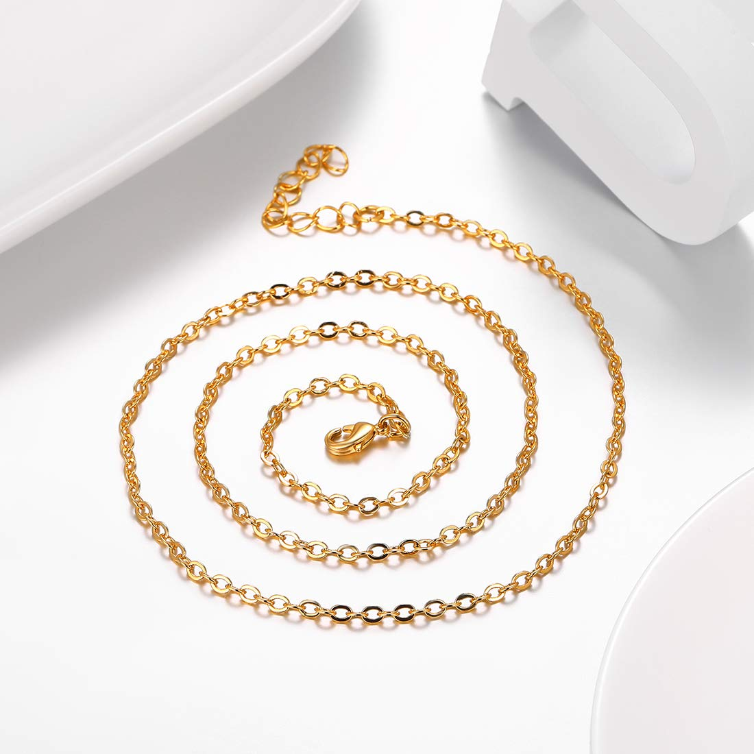 18-30 Available U7 Platinum//Ion-Plating Black//Rose Gold 18K Gold Plated Cable Chain Necklace 2MM
