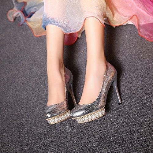 Bridal Toe Pointed High Silver Pumps Beaded Heels Shoes Womens Carolbar Platform qwa6tt