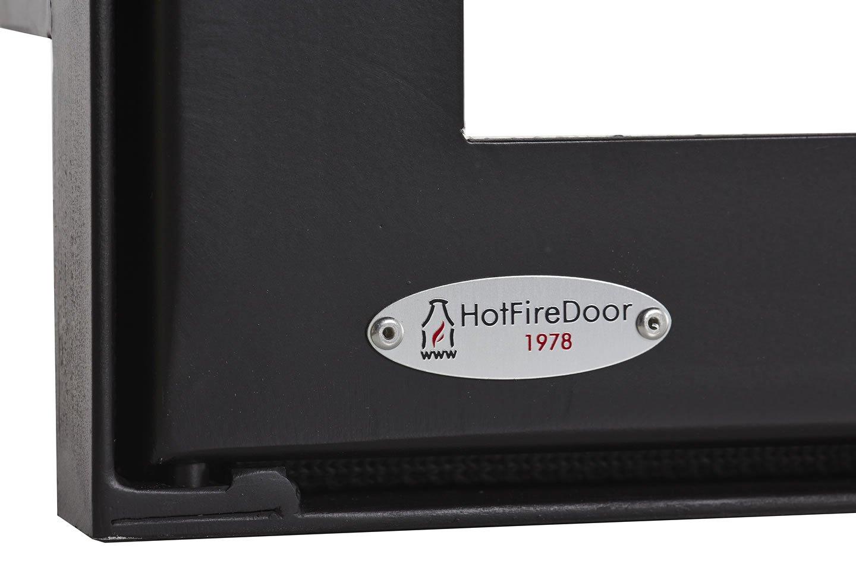 HotFireDoor Puerta para Chimenea con Cristal vitrocerámico y regulador de Entrada de Aire ¡¡¡ Sin Obras!!!, Varios tamaños.