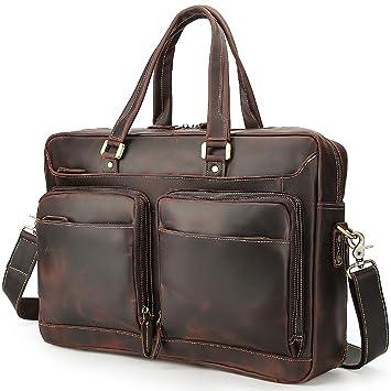maletín para ordenador portátil Maletín portátil de cuero de los hombres de gran capacidad Maletín de