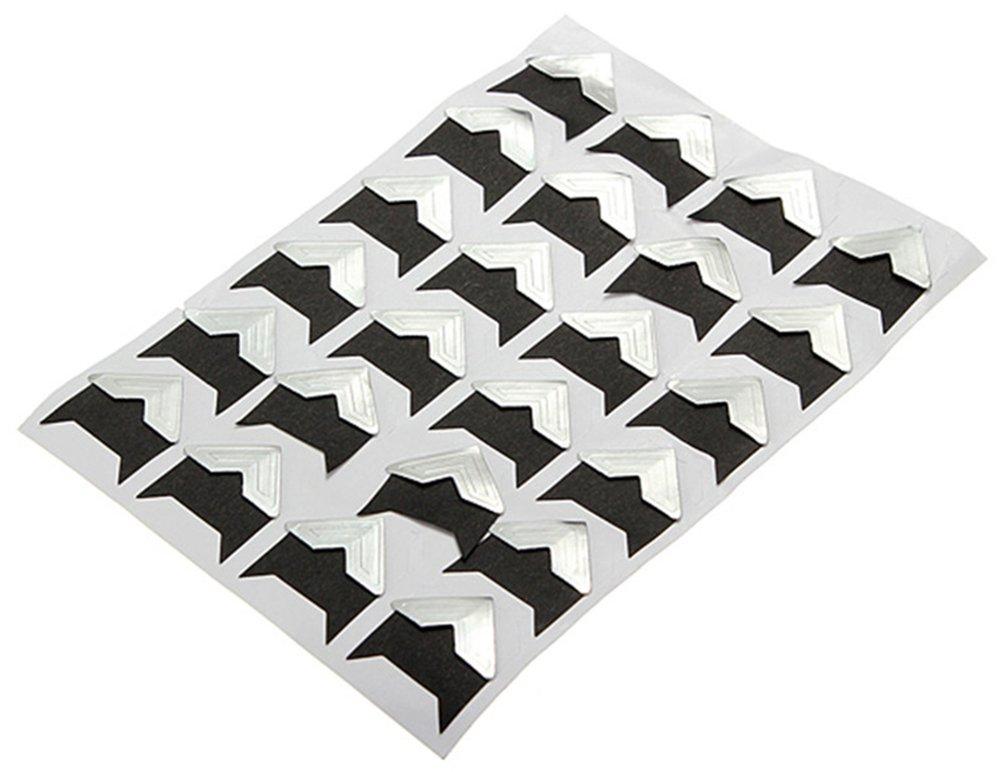 BleuMoo Self-Adhesive Card Photo Frame Corner Stickers DIY Scrapbook Album (White)