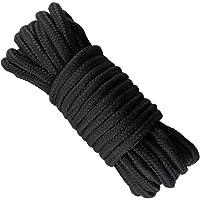 JIAHAO - Cuerda trenzada de algodón suave, 10 m, 8 mm, gruesa, color negro