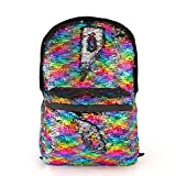 "Magic Reversible Sequin School Backpack,Sparkly Lightweight Back Pack for Girls and Boys,17""12¼""4¾""(Rainbow)"