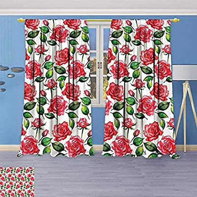 Thermal Weaved Blackout Curtain,Fresh Seasonal Watercolor Endless Roses and Leafs Buds Planet Earth Theme Print Red Room Darkening & Noise Reduction Fabric - Premium Draperies