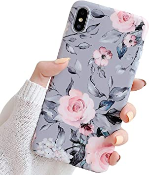 Iphone Xs Case For Girls Yelovehaw Flexible Soft Slim Fit Full Around Protective Cute Shell Phone Case Cover With Purple Floral And Gray Leaves Pattern For Iphone X Xs 5 8 Inch Pink Flowers Amazon Ca