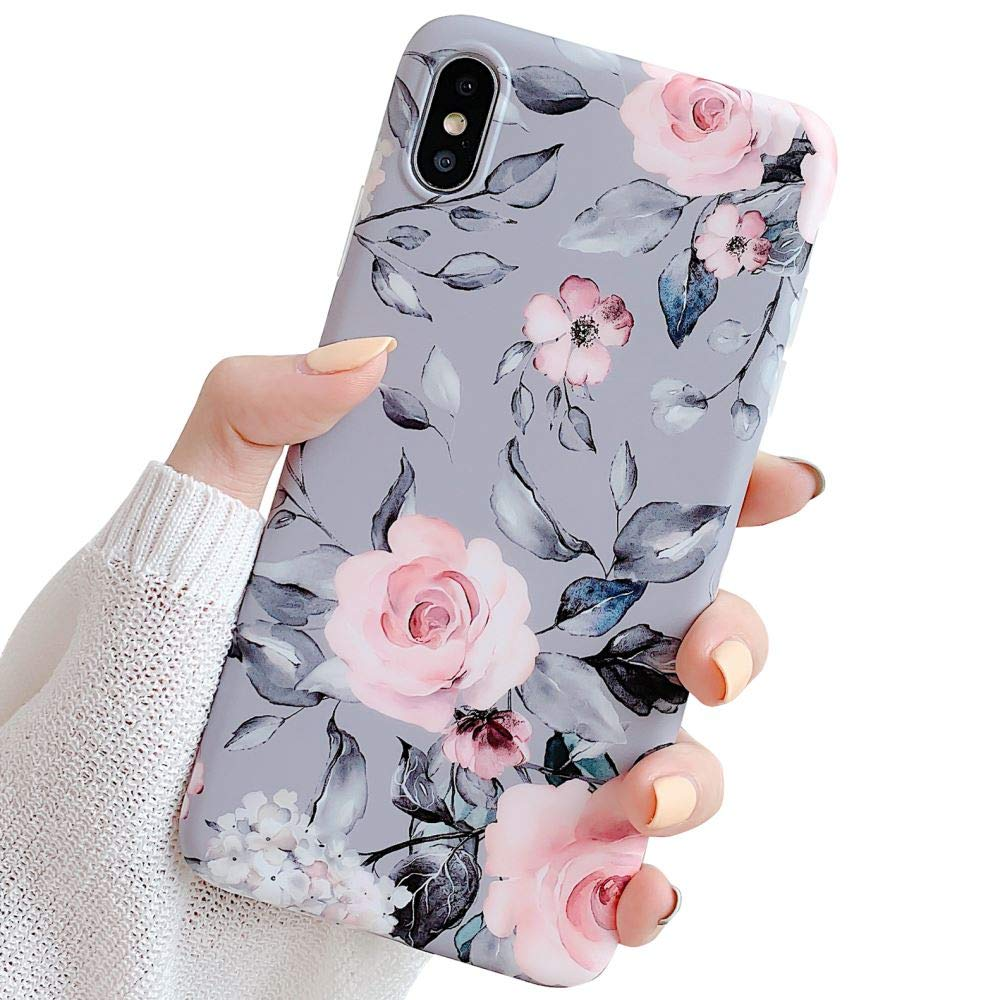 iPhone Xs Max Case for Girls, YeLoveHaw Flexible Soft Slim Fit Full Protective Cute Shell Phone Case with Purple Floral and Gray Leaves Pattern for iPhone Xs Max 6.5 Inch (Pink Flowers)