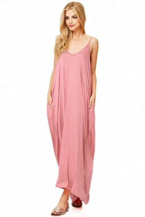 d92db68b62c Pink Ice Women s Trendy Harem Cut Maxi Dress w Pockets at Amazon ...