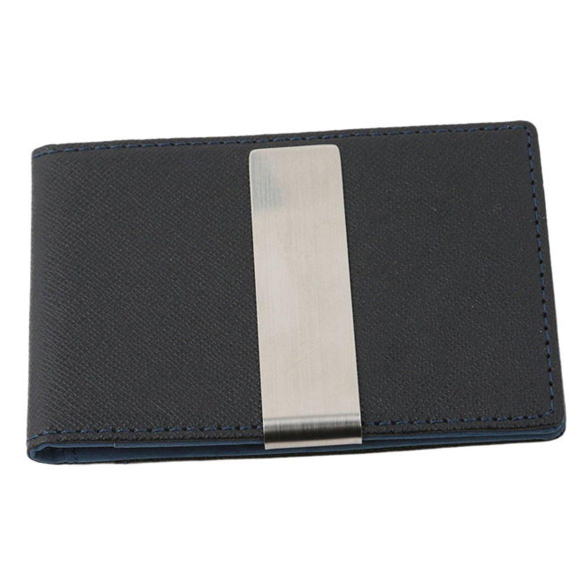 ODN PU Kreditkartenetui, Mini Portemonnaie mit Geldklammer fü r Herren, Kartenetui mit Geldclip Geldbö rse (Blau)