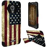 HR Wireless Hybrid T Kickstand Case for Alcatel Fierce 4 Allura - USA American Flag Grunge Stars Strips
