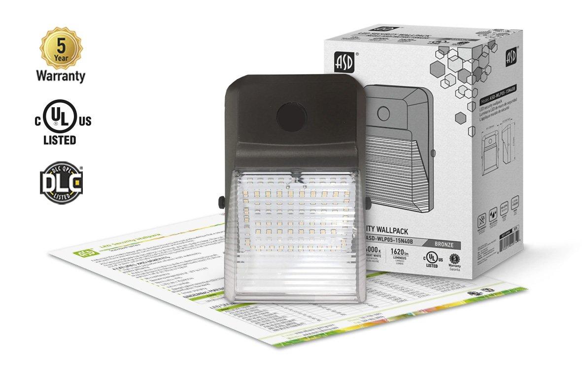 LEDスリムセキュリティウォールパックwith PC 5000 K 15 Watt WLP05-15N40B B0798W2RSS 15 Watt 4000K 4000K 15 Watt