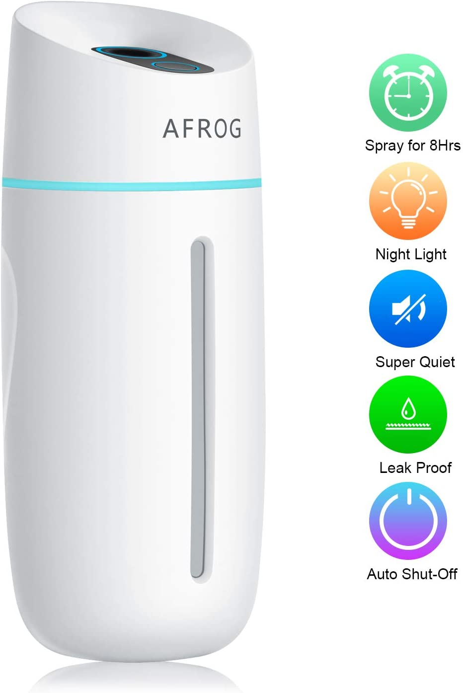 Portable Mini Humidifiers for Bedroom, Small Cool Mist Humidifier with 7 Color Night Light, USB Personal Humidifiers for Baby Bedroom Travel Office Home, Auto Shut-Off, 2 Mist Modes, Super Quiet, with Adapter