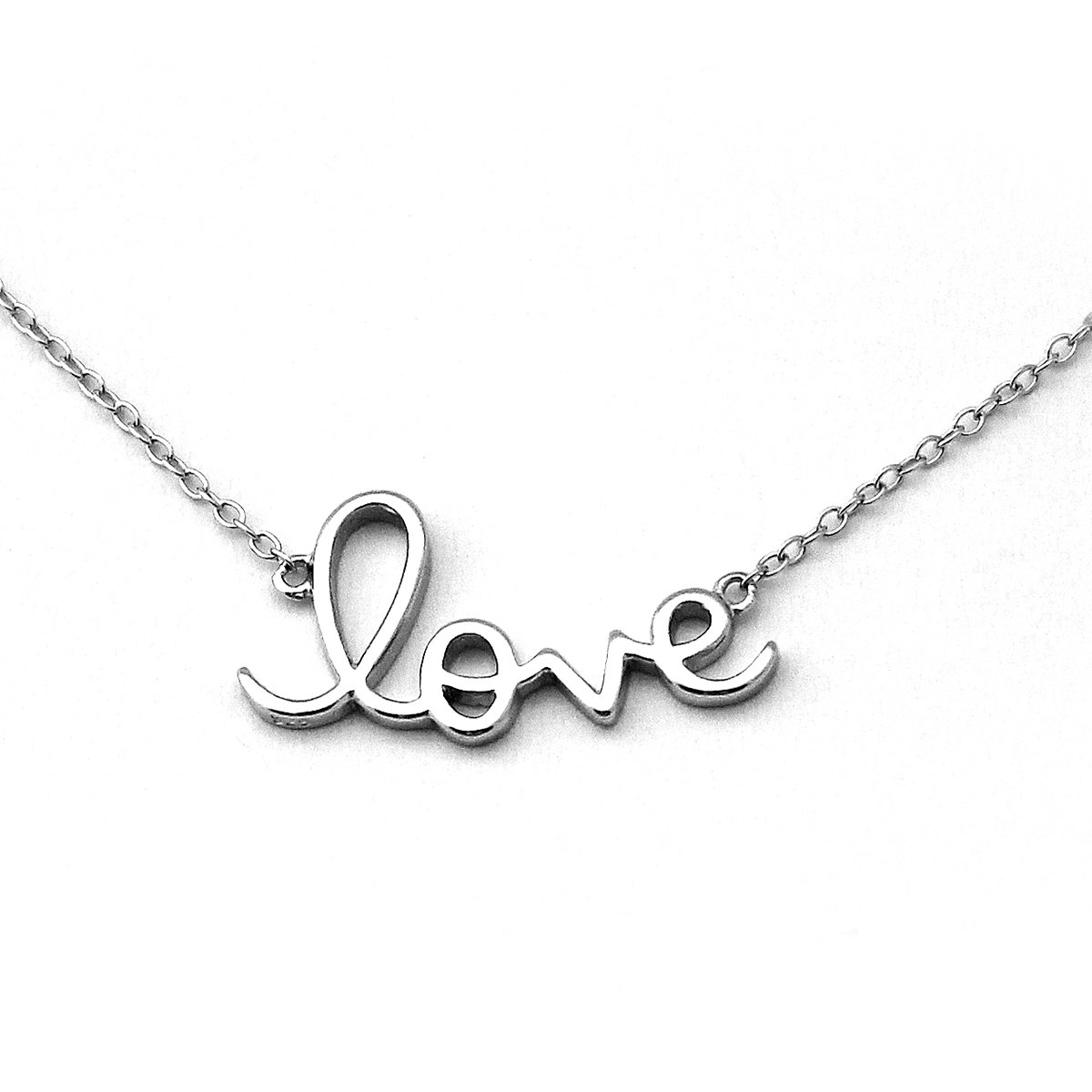 Solid Sterling Silver Rhodium Plated''Love'' Pendant Necklace, 18''