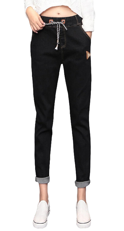 Aivtalk - Fashion Jeans Skinny Slim en Denim Noir Pantalons de Crayon Style Loisir - Carotte - Sarouel Ajustable Jeggings Amincissant avec Poches Côtelé Taille Moyenne - S-L(Taille français 34-38)