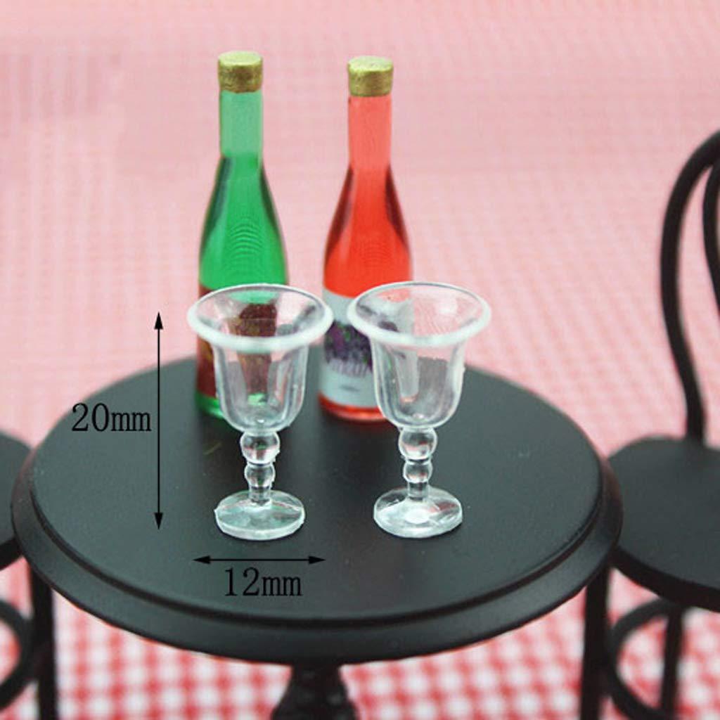 SM SunniMix 4x Miniature Wine Glasses Champagne Drink Cups Dollhouse Decor Accessories 1:12 Scale