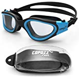 COPOZZ Swimming Goggles, Pro Triathlon Swim Goggles for Unisex Adults Men Women Teenagers Boys Girls, Wide View Anti Fog Crystal Clear Vision No Leak UV Protection, Mirrored/Clear Lens, Multicolor